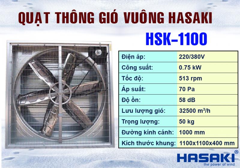 Quạt Hút Vuông Công Nghiệp 1100x1100 Hasaki