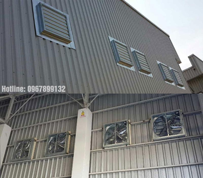 Lắp đặt quạt thông gió 500x500 cho nhà xưởng